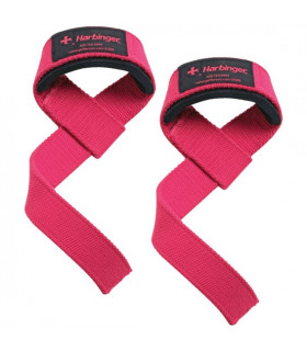 Harbinger Padded Cotton Lifting Straps Pink - FitnessBolaget